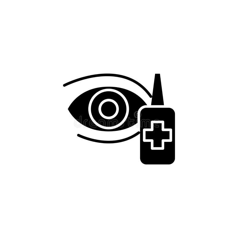 Conceito preto do ícone das gotas de olho Símbolo liso do vetor das gotas de olho, sinal, ilustração ilustração royalty free