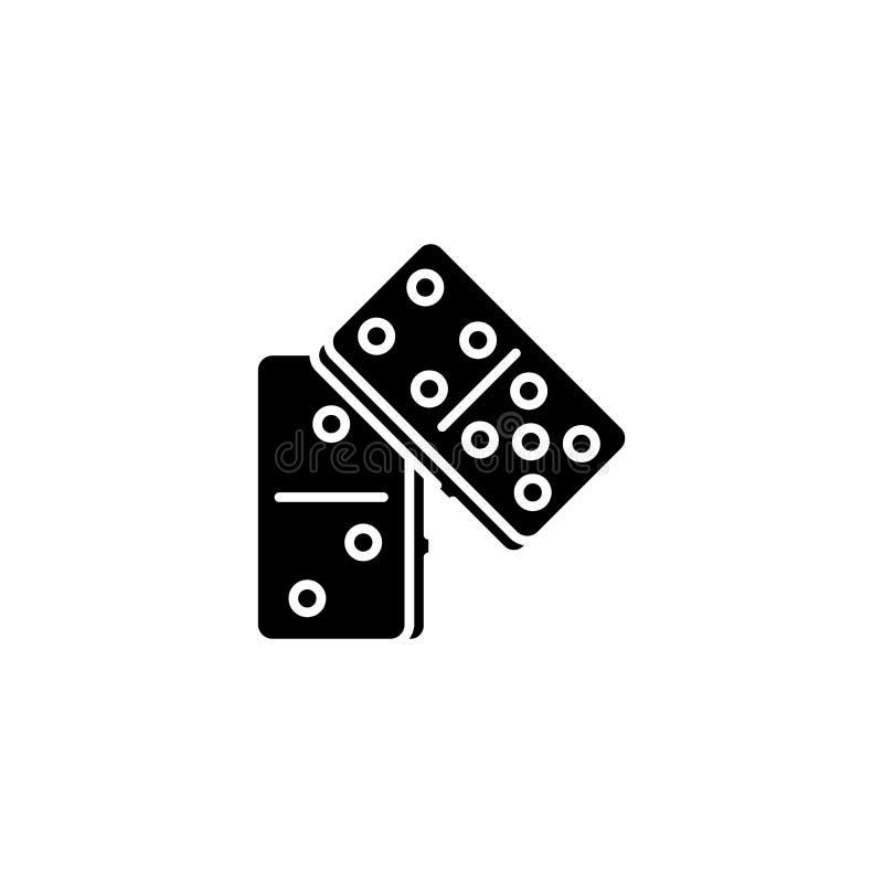 Conceito preto do ícone do dominó Símbolo liso do vetor do dominó, sinal, ilustração ilustração royalty free