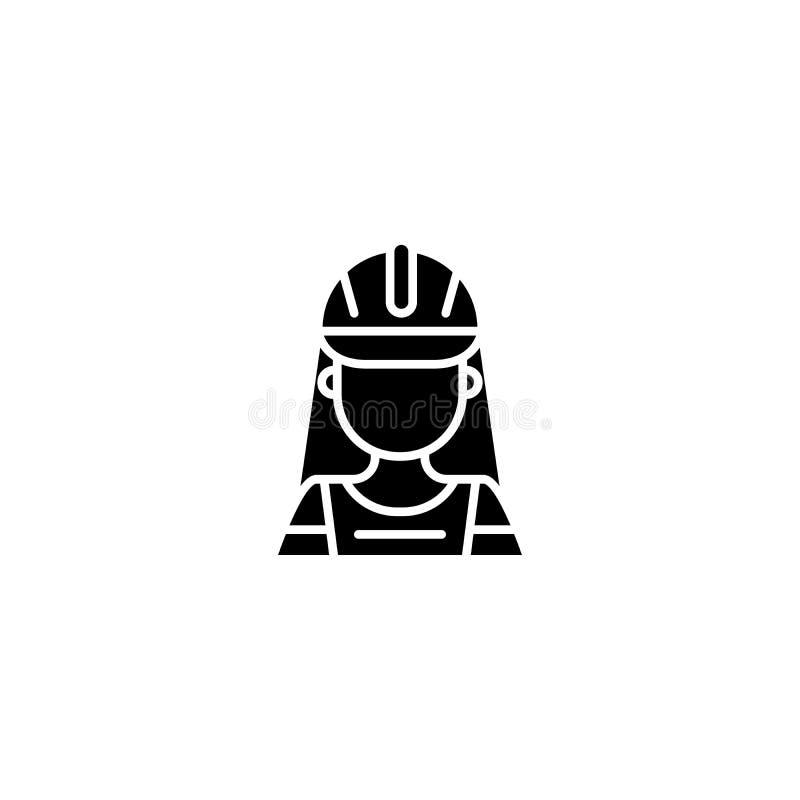 Conceito preto do ícone do trabalhador da construção Símbolo liso do vetor do trabalhador da construção, sinal, ilustração ilustração do vetor