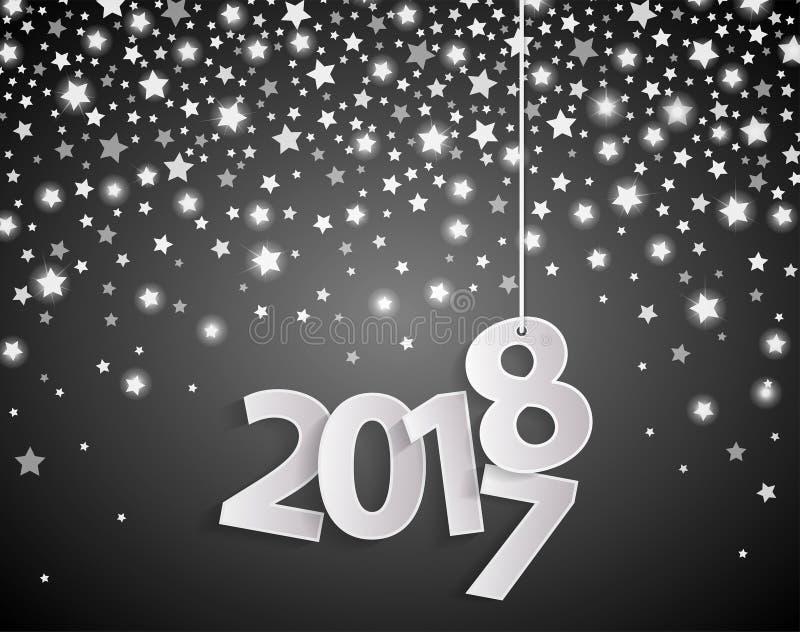 Conceito 2018 preto do cartão do ano novo feliz com números brancos cuted papel no fundo dourado da queda da estrela ilustração stock
