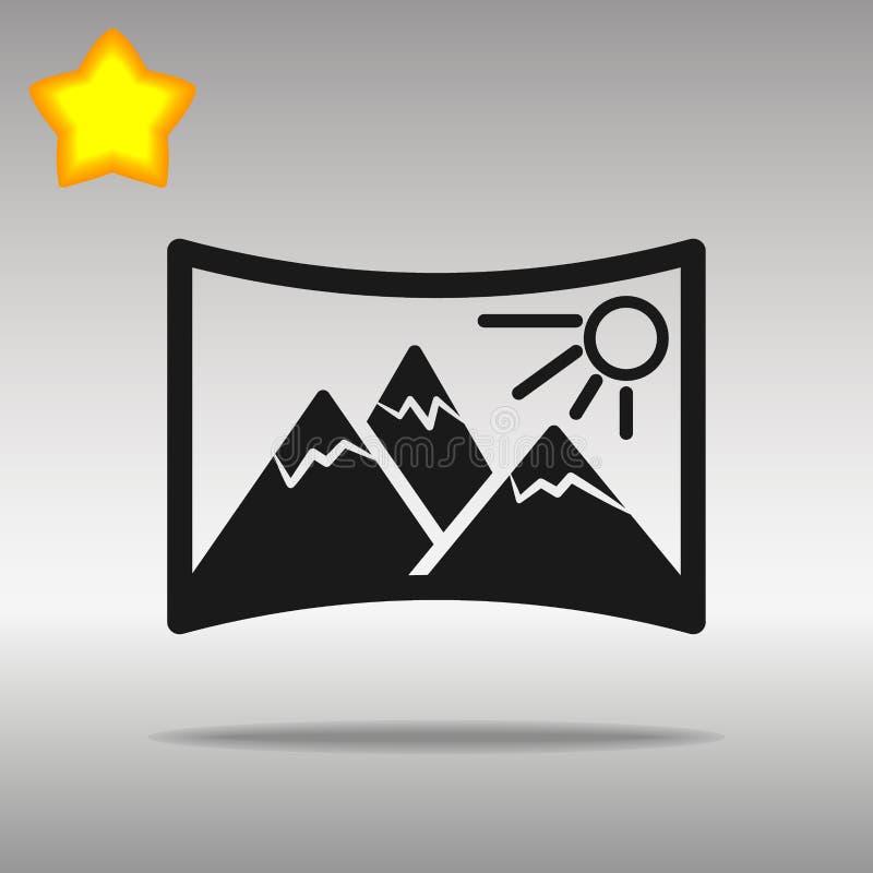 Conceito preto do símbolo do logotipo do botão do ícone do panorama de alta qualidade ilustração do vetor