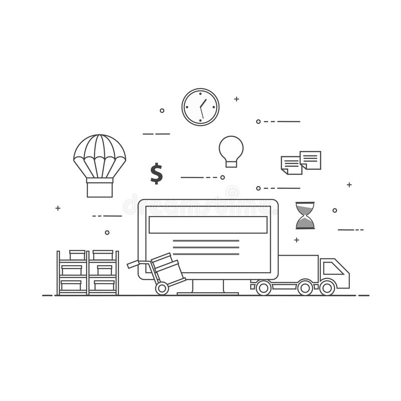 Conceito preto e branco da ilustração do vetor do projeto liso para o serviço de entrega, comércio eletrônico, compra em linha, r ilustração royalty free