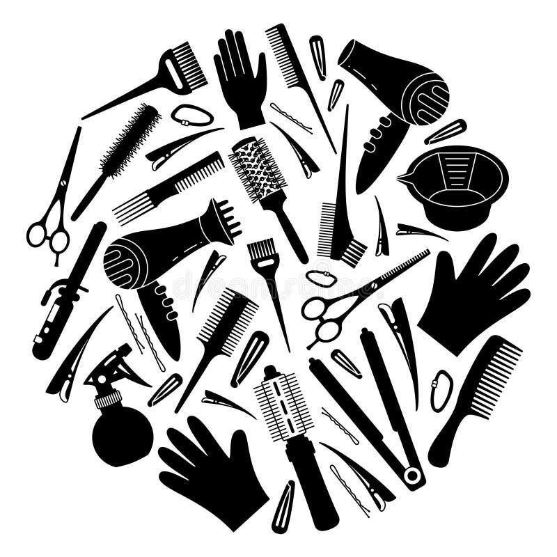 Conceito preto e branco das ferramentas do cabeleireiro ilustração royalty free