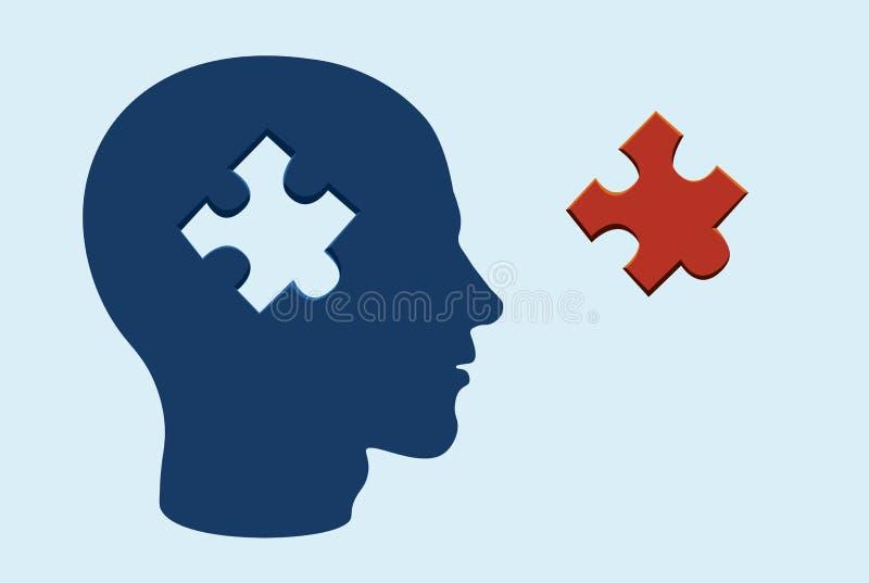 Conceito principal do cérebro do enigma com uma parte da serra de vaivém cortada ilustração royalty free
