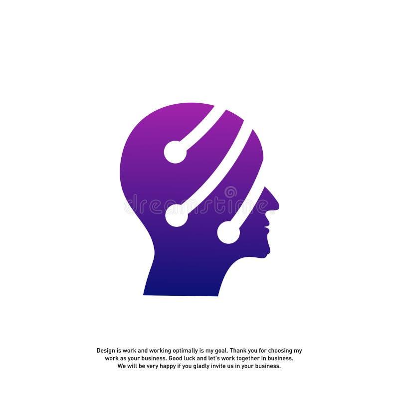 Conceito principal do logotipo da tecnologia, vetor do logotipo de Brain Robotic - vetor ilustração royalty free