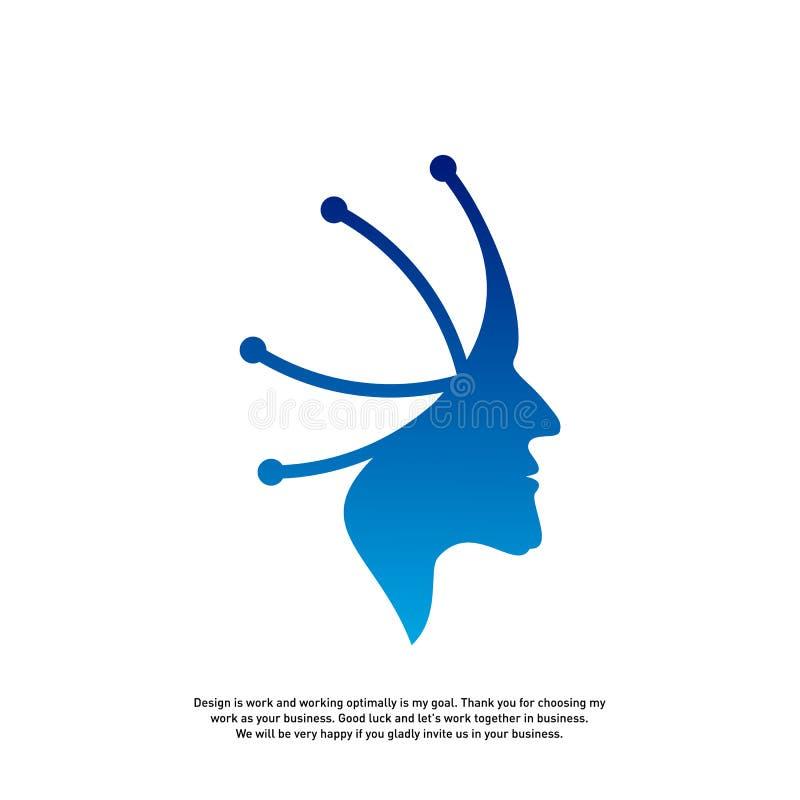 Conceito principal do logotipo da tecnologia, vetor do logotipo de Brain Robotic - vetor ilustração do vetor