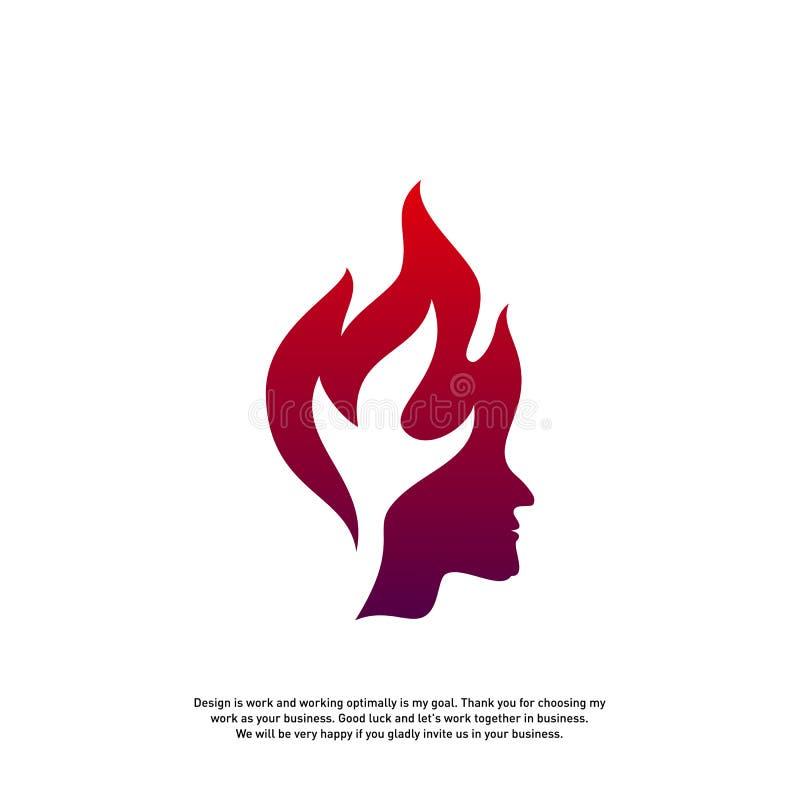 Conceito principal do logotipo do fogo, logotipo do fogo da mente, logotipo do mindset do espírito, logotipo principal da chama - ilustração do vetor