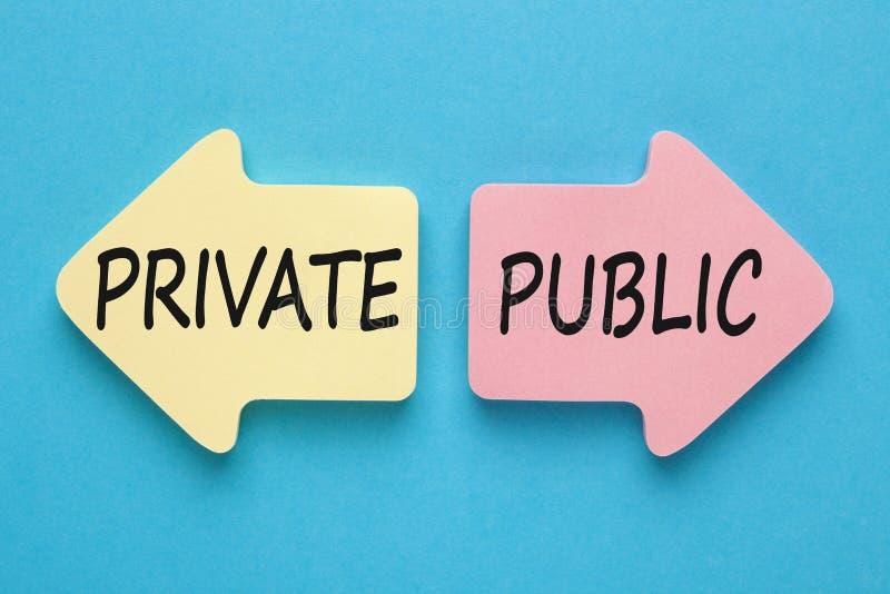 Conceito privado e público foto de stock