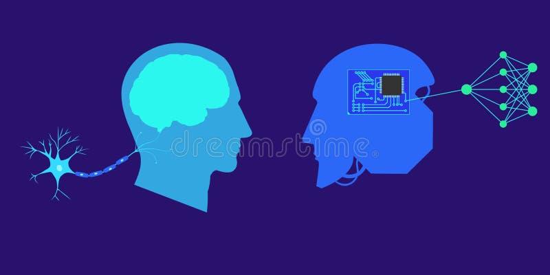 Conceito profunda ou de máquina da aprendizagem - ilustração abstrata do vetor ilustração do vetor