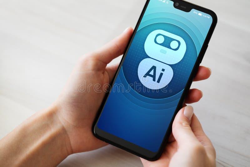 Conceito profundo da aprendizagem de máquina da inteligência artificial do AI Ícone do robô na tela do telefone celular fotos de stock