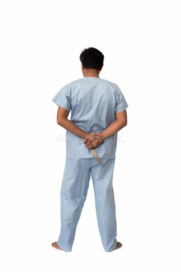 Conceito psicótico do assassino: Do paciente HOL paciente psiquiátrica da série dentro - fotografia de stock