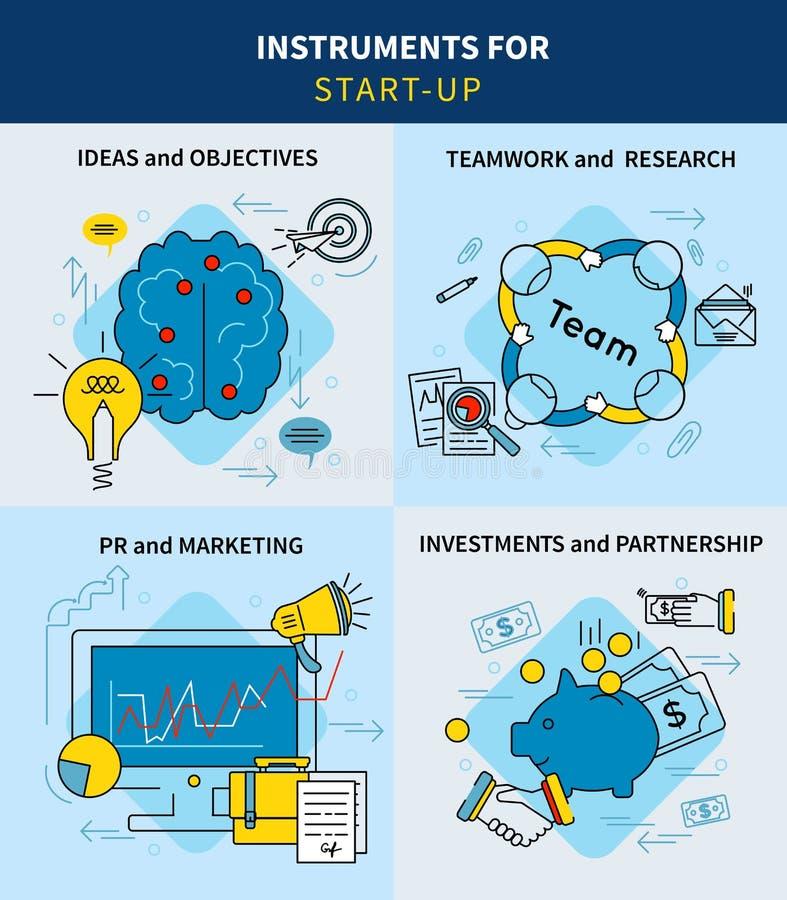 Conceito quadrado Startup do projeto linear do negócio ilustração stock