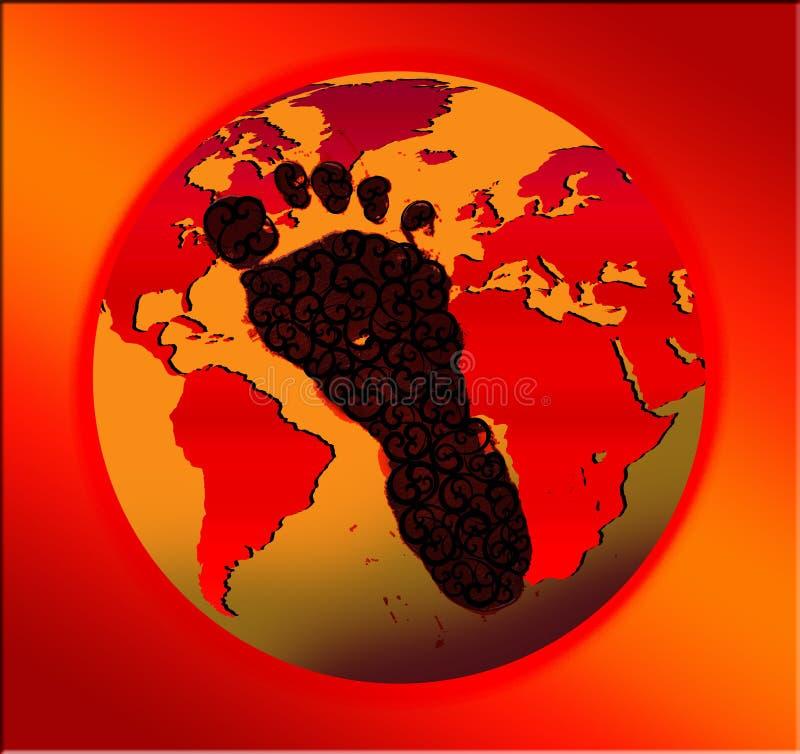 Conceito quente da pegada do carbono ilustração royalty free