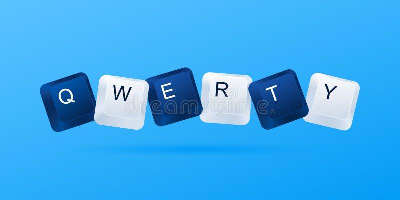 Conceito QWERTY da senha fraca Palavra QWERTY escrita com botões do computador A maioria de senha fácil fraca popular Chaves de t ilustração do vetor