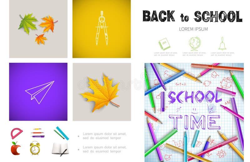 Conceito realístico de Infographic do tempo da escola ilustração stock