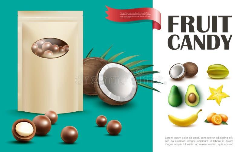 Conceito realístico dos doces do fruto ilustração royalty free