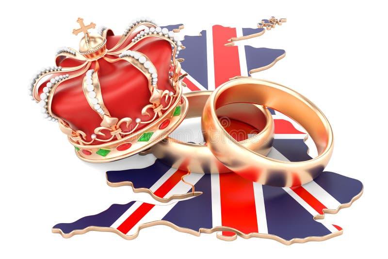 Conceito real do casamento Alianças de casamento com a coroa real no Bri ilustração royalty free