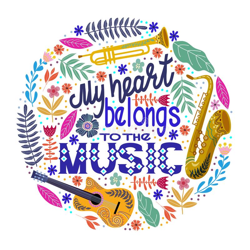 Conceito redondo colorido em um fundo branco, rotulando com instrumentos musicais e flores Vetor ilustração do vetor