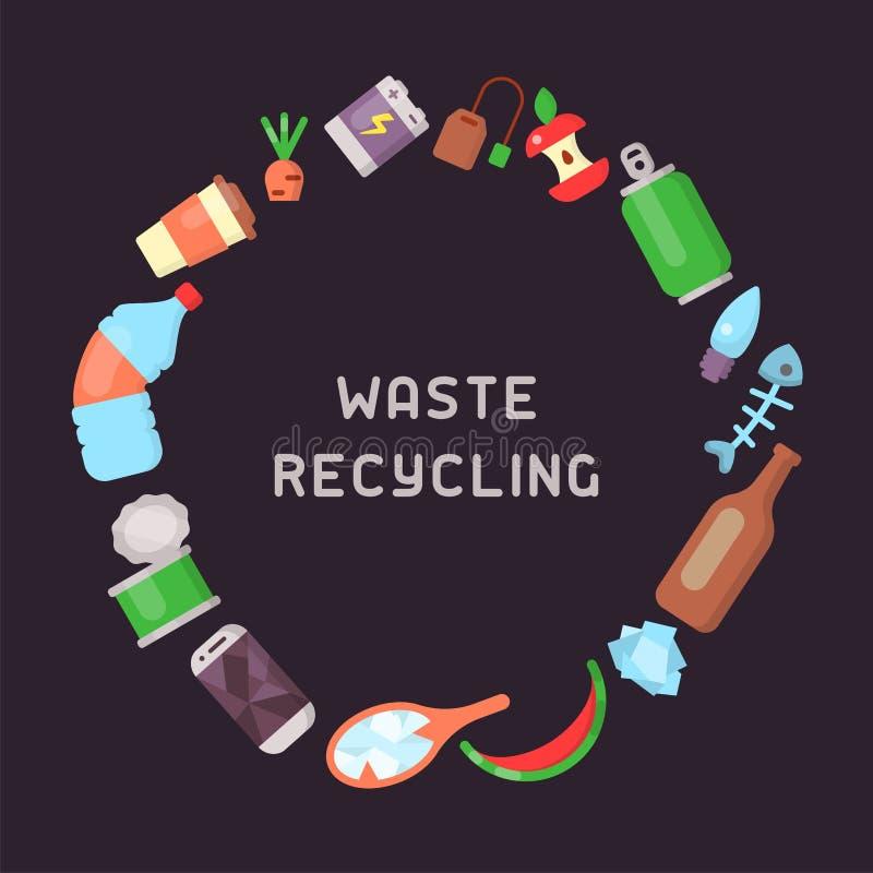 Conceito redondo com tipos diferentes de lixo ilustração do vetor