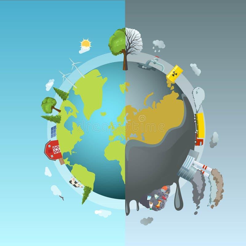 Conceito redondo da poluição ambiental ilustração stock