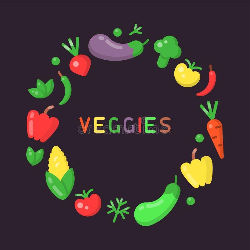 Conceito redondo do formulário com vegetais ilustração royalty free