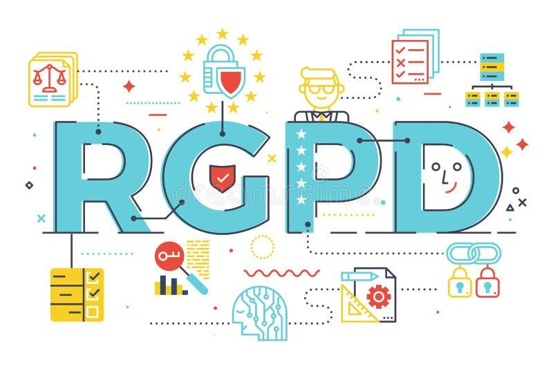 Conceito regulamentar da palavra da proteção de dados geral europeia de GDPR ilustração do vetor