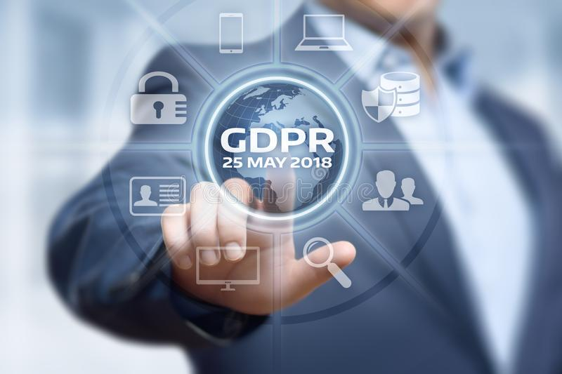 Conceito regulamentar da tecnologia do Internet do negócio da proteção de dados geral de GDPR foto de stock