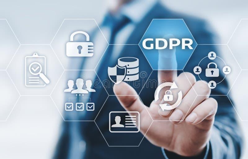Conceito regulamentar da tecnologia do Internet do negócio da proteção de dados geral de GDPR imagem de stock