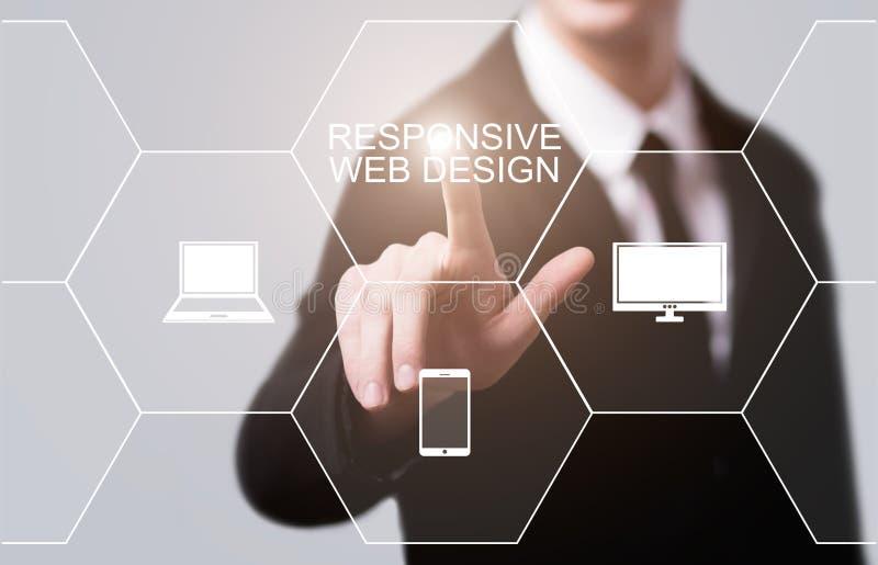 Conceito responsivo do Internet da tecnologia do negócio do Web site do design web foto de stock royalty free