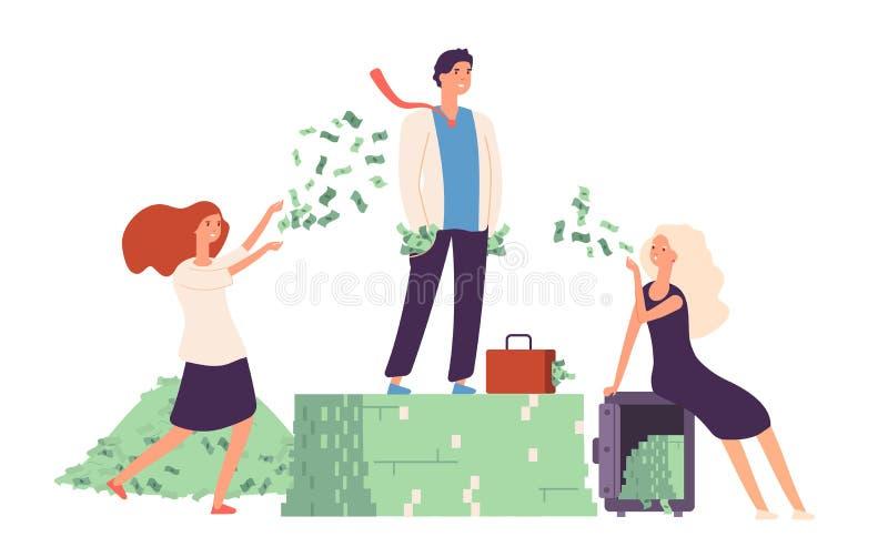 Conceito rico Posição do homem de negócios na prosperidade cara da vida da pilha do dólar do dinheiro Rentabilidade da gestão da  ilustração royalty free