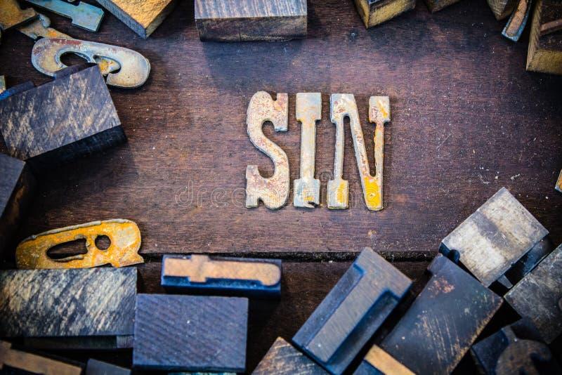 Conceito Rusty Type do pecado imagem de stock