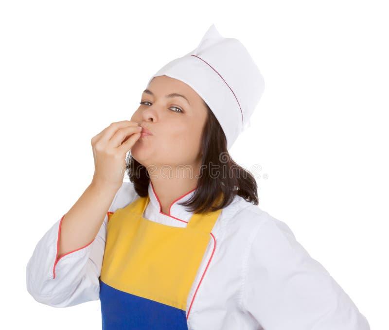 Conceito saboroso do alimento Cozinheiro chefe bonito Giving da jovem mulher um perfeito fotografia de stock