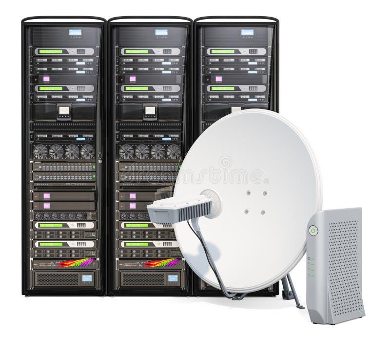 Conceito satélite do acesso à internet Cremalheiras do servidor de computador com antena parabólica de uma comunicação e o modem  ilustração stock