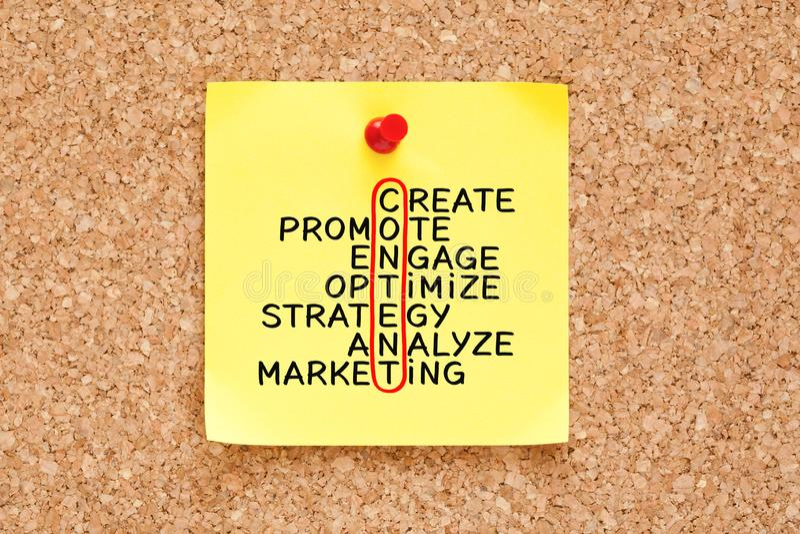 Conceito satisfeito das palavras cruzadas da estratégia de marketing na nota pegajosa imagens de stock