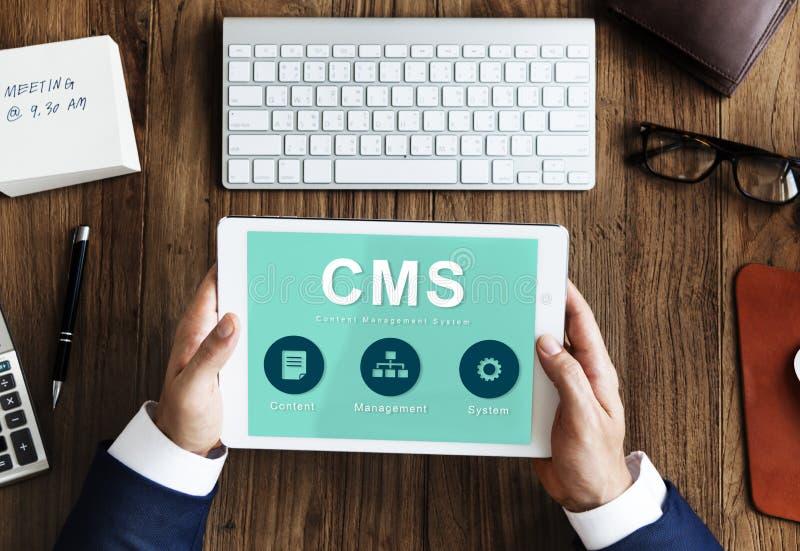 Conceito satisfeito do CMS da estratégia de sistema de gestão imagens de stock royalty free