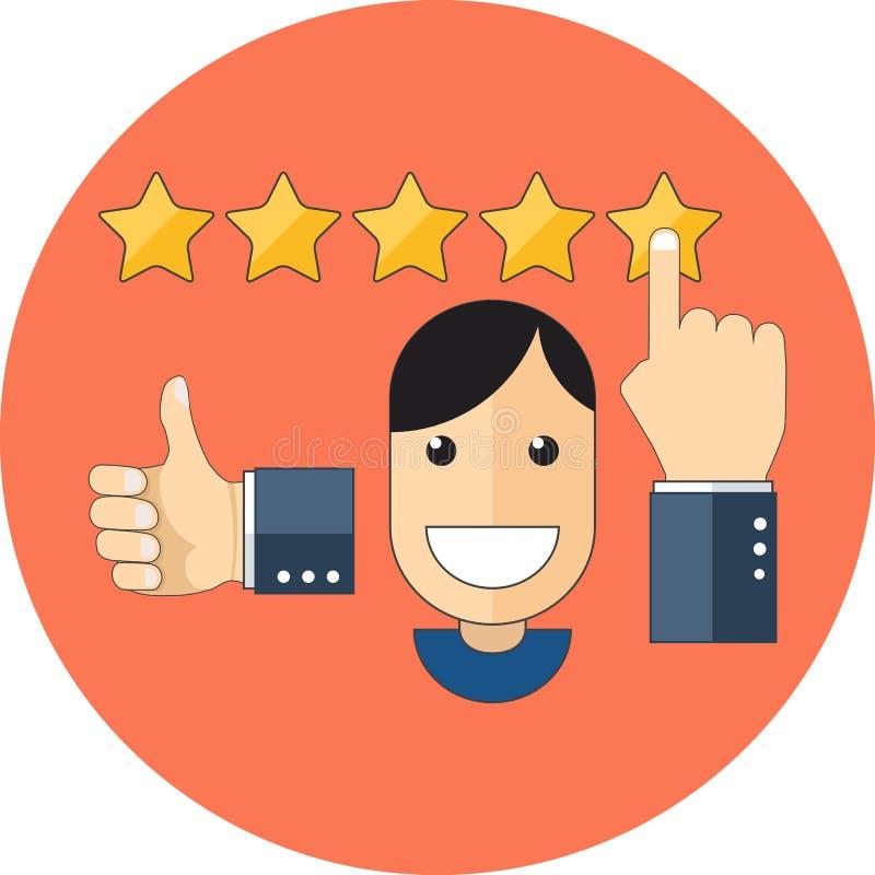 Conceito satisfeito dos clientes Projeto liso ilustração royalty free
