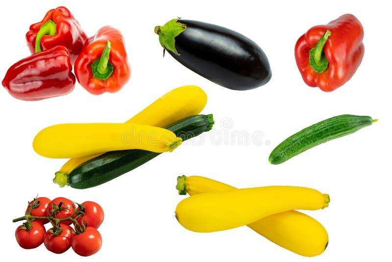 Conceito saudável Coleção do isolador saudável cru fresco dos vegetais fotografia de stock royalty free