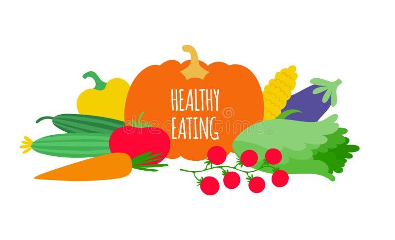 Conceito saudável comer com vegetais Dieta do vegetariano do vegetariano ilustração royalty free