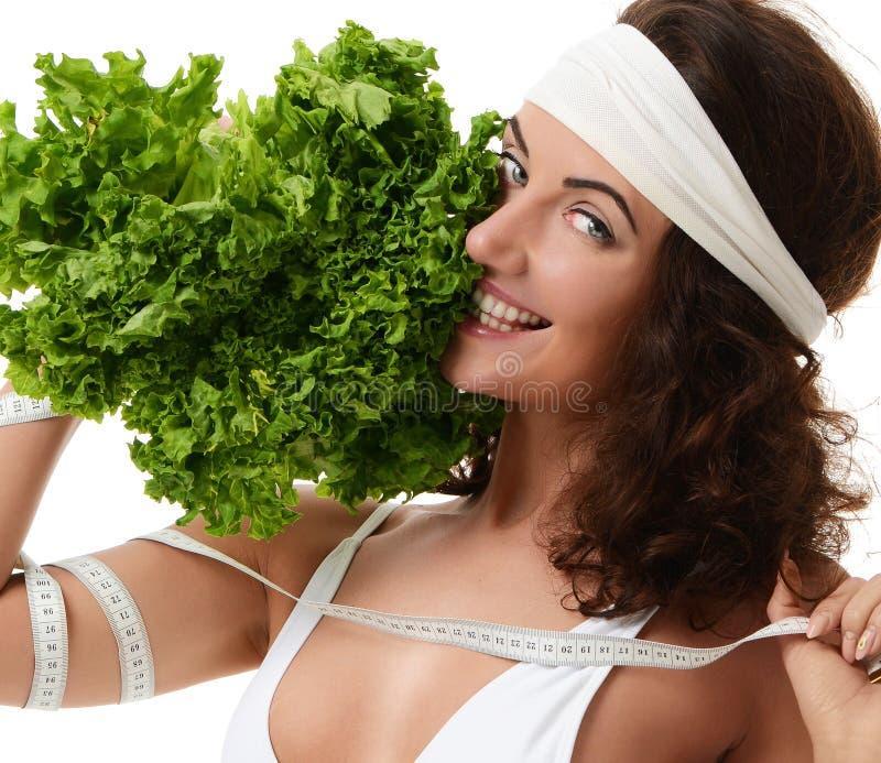 Conceito saudável comer dieting Brócolis da alface da posse da mulher e fotos de stock