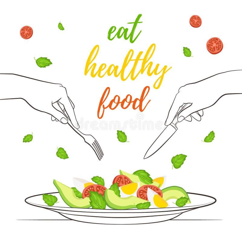 Conceito saudável do alimento ilustração royalty free
