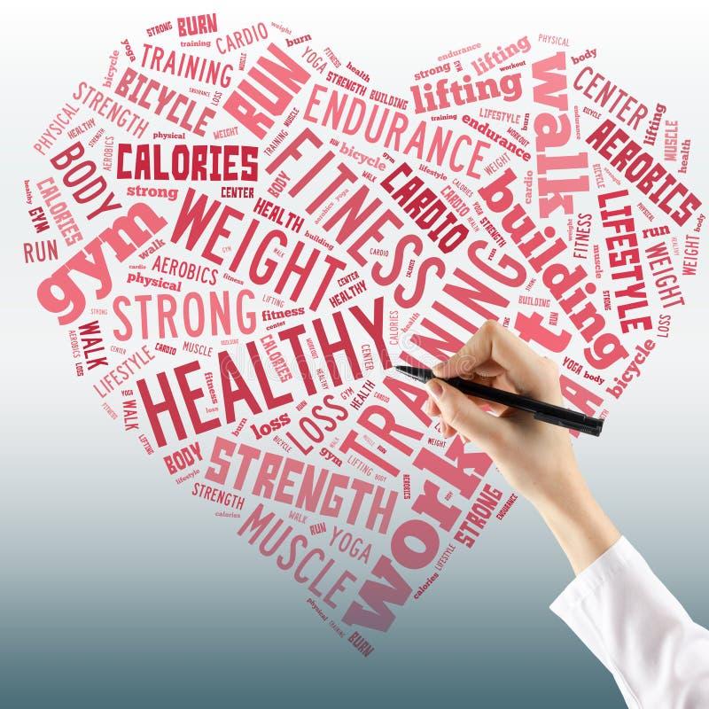 Conceito saudável do estilo de vida - coração na colagem da palavra Feche acima de f imagem de stock royalty free
