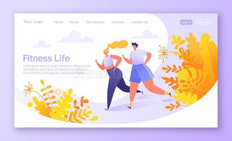 Conceito saudável do estilo de vida para o Web site ou o página da web Corrida do caráter da aptidão, exercício de formação, card ilustração stock