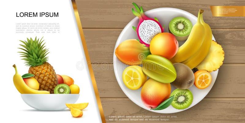 Conceito saudável fresco realístico do alimento do verão ilustração do vetor