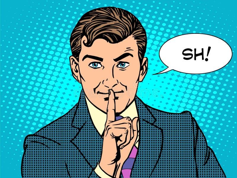 Conceito secreto do negócio do mistério do silêncio ilustração royalty free