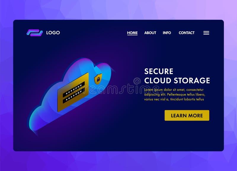 Conceito seguro do molde do Web site da tecnologia de armazenamento da nuvem Nuvem, senha e cadeado Nuvem protegida que computa o ilustração do vetor