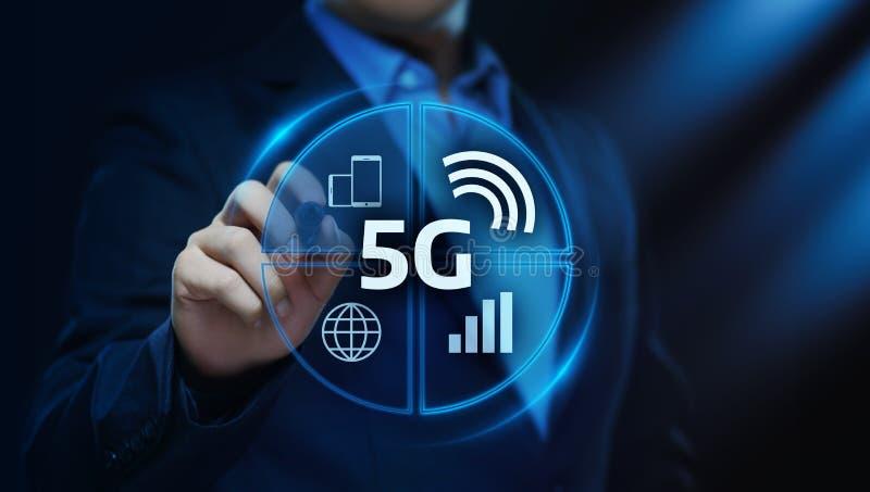 conceito sem fio móvel do negócio do Internet da rede 5G ilustração stock