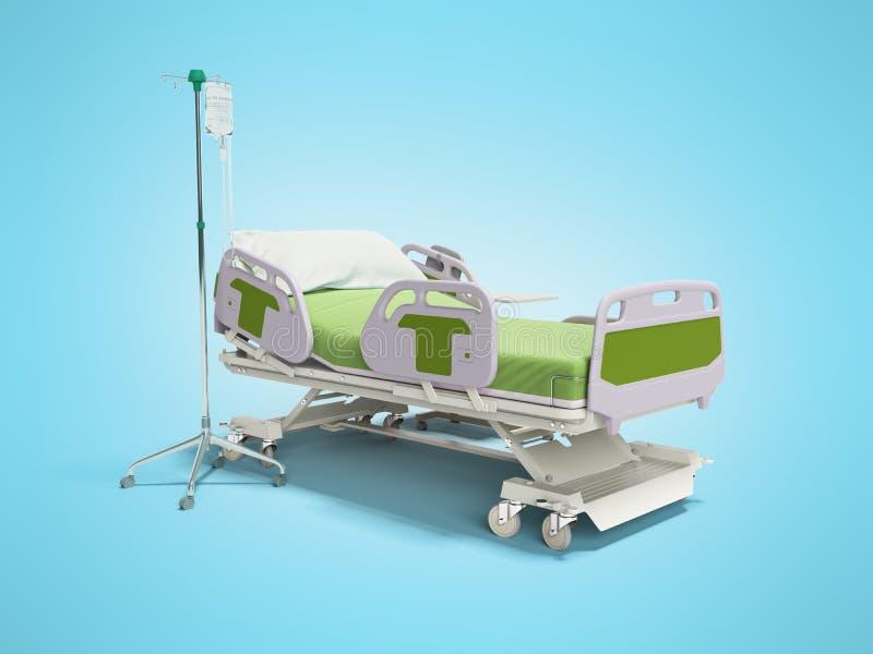 Conceito semiautomático na cama verde do hospital com controle remoto e gotejamento em tripé 3d renderização em fundo azul com so ilustração royalty free