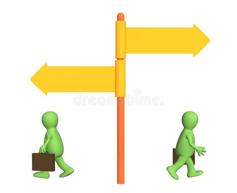 Conceito - sentido diferente no negócio ilustração do vetor