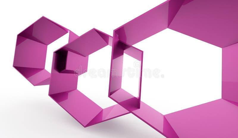 Conceito sextavado cor-de-rosa das pilhas no branco ilustração royalty free