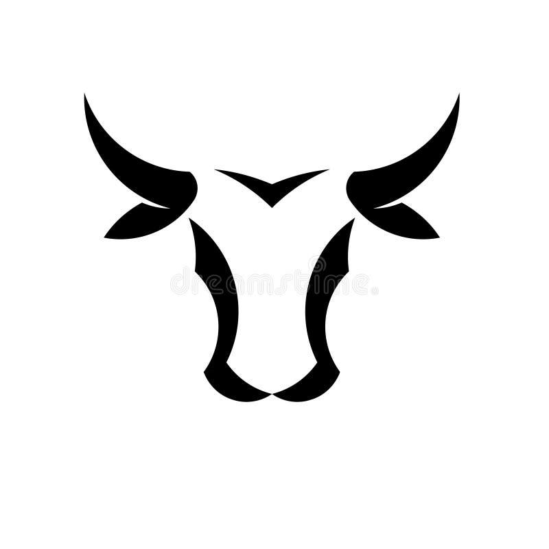 Conceito simples abstrato do logotipo do vetor da cabeça de Bull ilustração stock